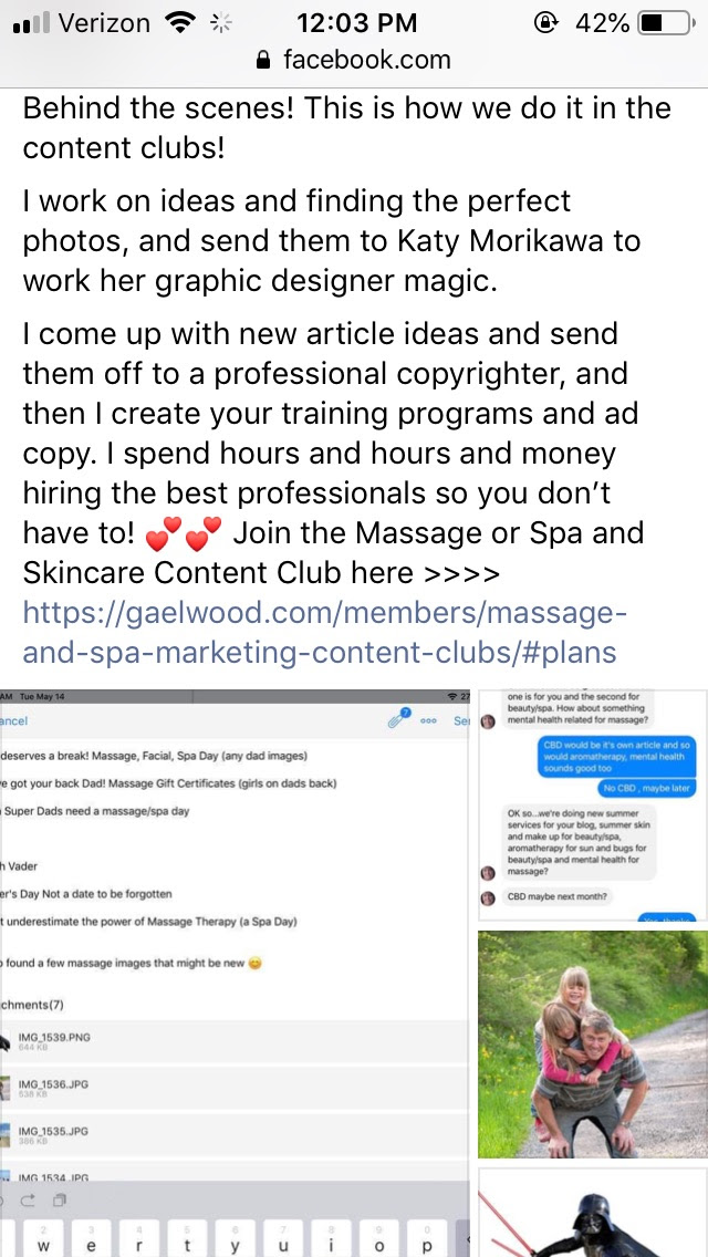 Screenshots of posts showing behind the scenes process of creating the Content Clubs