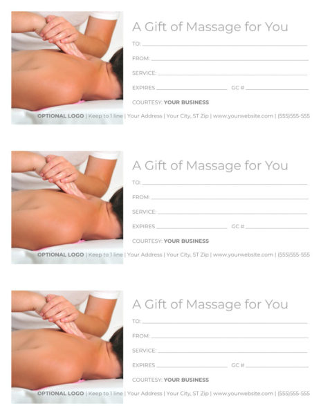 """Massage Gift Certificate Template - 3 per page, Word docx, reads """"A Gift of Massage for You"""" with an image of a person receiving a back massage"""