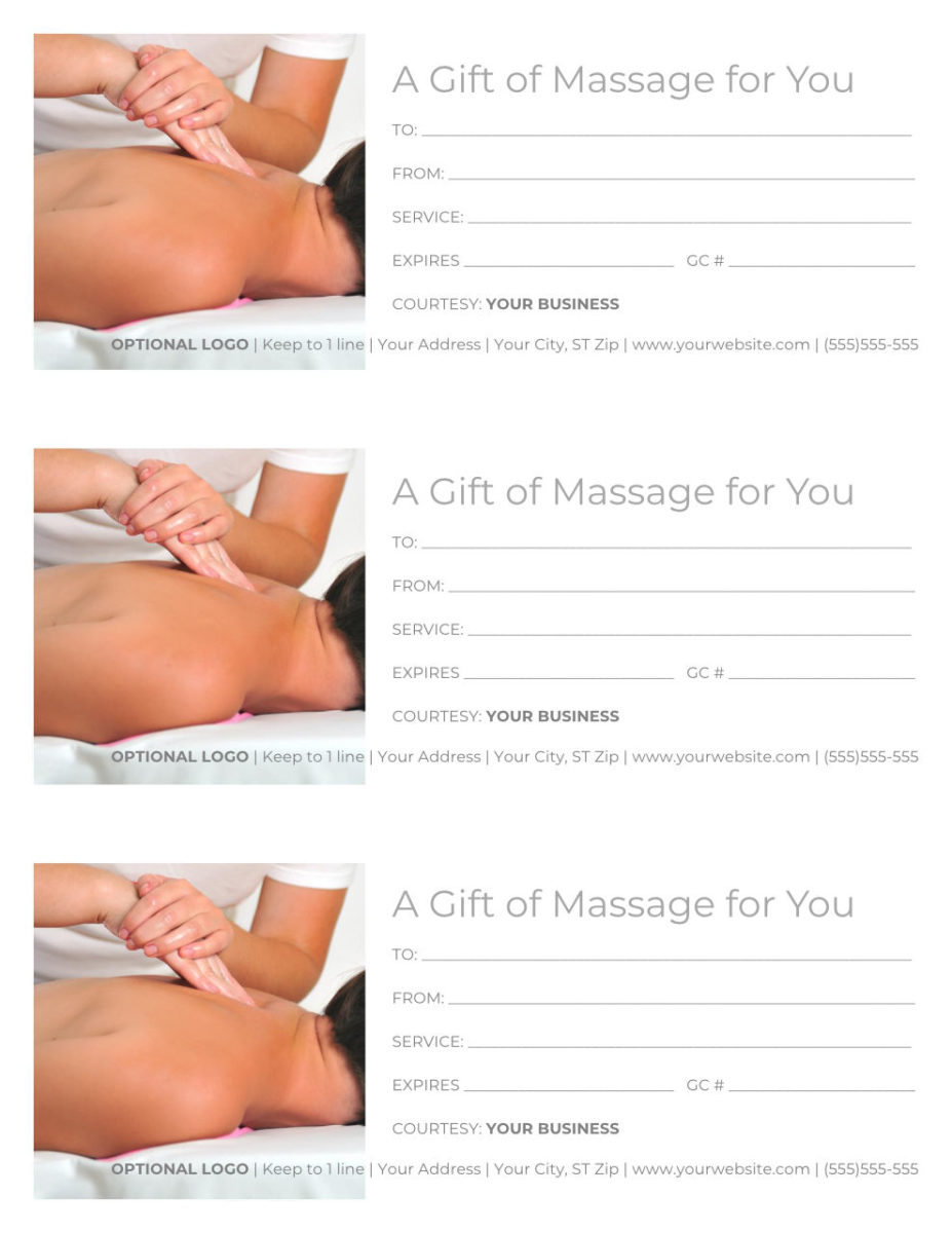 "Massage Gift Certificate Template - 3 per page, Word docx, reads ""A Gift of Massage for You"" with an image of a person receiving a back massage"