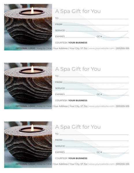 """Free Spa Gift Certificate Template - 3 per page, Word docx, reads """"A Spa Gift for You"""" with an image of a spa candle."""