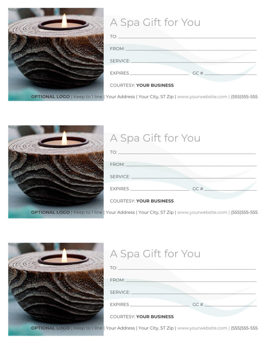 "Free Spa Gift Certificate Template - 3 per page, Word docx, reads ""A Spa Gift for You"" with an image of a spa candle."
